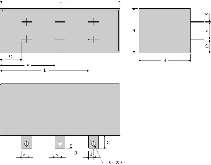 Maßzeichnung WIMA DC-LINK HC