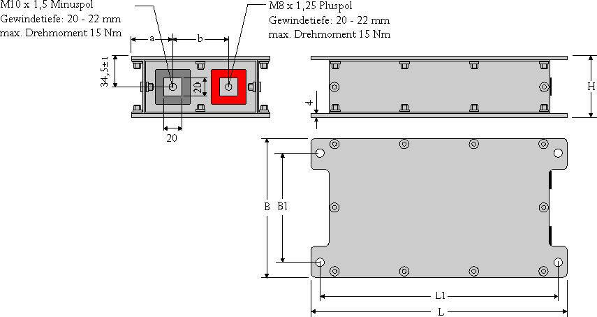 Maßzeichnung WIMA PowerBlock-Module